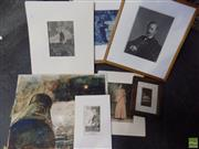 Sale 8557 - Lot 2032 - An Assortment of (7) Works on Paper: incl. engravings, monotype, cyano-print, antique photographs (various sizes/framed & unframed)