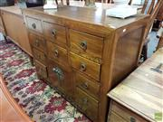 Sale 8593 - Lot 1020 - Chinese Elm Cabinet w 2 Doors & 8 Drawers (84 x 100 x 44cm)