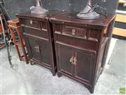 Sale 8593 - Lot 1001 - Pair of Large Dark Stained Oriental Bedsides