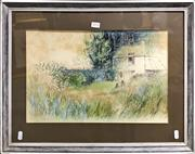 Sale 8794 - Lot 2078 - Artist Unknown - Country Cottage Garden Scene with 2 Figures, mixed media on paper, 45.5 x 58cm (frame), signed