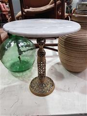 Sale 8934 - Lot 1059 - Marble Top Wine Table on Brass Base