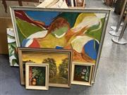 Sale 8998 - Lot 2066 - Group of Assorted Paintings incl. Vintage Abstract, Still Life, and Landscapes