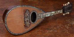 Sale 9120H - Lot 125 - A mother of pearl inlaid mandolin, marked Dominiko Zanoni, Napoli to interior, Length 61cm  damaged