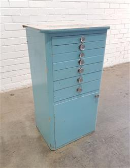 Sale 9137 - Lot 1029 - Early painted seven drawer dental cabinet with single door below (h74 x w53 x d38cm)