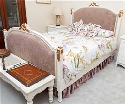 Sale 9190W - Lot 91 - A French queen size bed ensemble with painted highlights, linen, mattress and base not included. Height 145 x lenght 220 x width 160cm