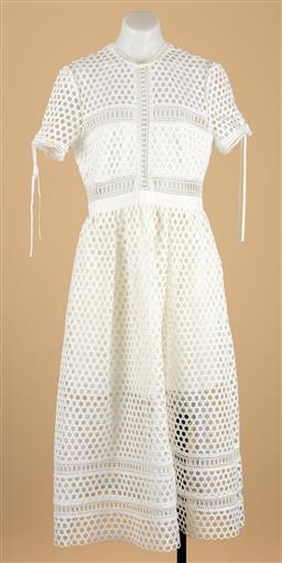 Sale 9250F - Lot 99 - A self-portrait white dress, zip to back and decorative ribbon to sleeve, size US 10.