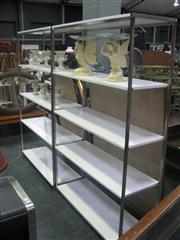 Sale 7933A - Lot 1131 - Pair of White Metal Framed Open Shelving Units