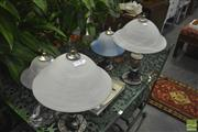 Sale 8307 - Lot 1048 - Collection of 4 Glass Shade Table Lamps