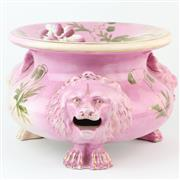 Sale 8356A - Lot 21 - Victorian Floral Painted Lion Head Adorned Pink Spittoon