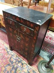 Sale 8593 - Lot 1032 - Chinese Black Lacquer Cabinet w Butterflies (85 x 58 x 37cm)