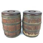 Sale 8607R - Lot 43 - Oak Barrel Form Lidded Containers (Bases Missing) (H: 23cm)