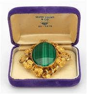 Sale 8414A - Lot 64 - An 18 ct gold and malachite pendant brooch, total weight 40gms, W 6cm