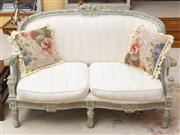 Sale 8677B - Lot 603 - An Italianate four piece lounge suite with a carved and painted frame in duck egg blue with highlights picked out in gold, silk upho...