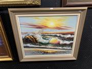 Sale 9008 - Lot 2097 - A Sunset Beachscape Painting by Unknown Artist, 66 x 77cm (frame)