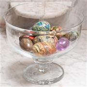 Sale 9071H - Lot 3 - A small group of decorative glass and painted eggs and a pebble