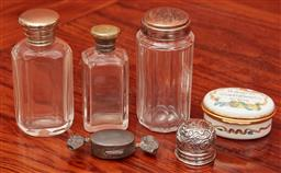 Sale 9108H - Lot 80 - A small group of glass bottles and trinket boxes.