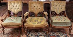 Sale 9120H - Lot 126 - A matched set of three C19th buttonback armchairs with tapestry upholstery. Height 85cm