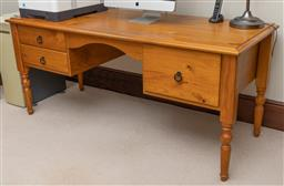 Sale 9260M - Lot 90 - A wide pine desk with 2 drawers and filing drawer H 76cm W 171cm D 70cm