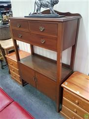 Sale 8598 - Lot 1013 - Edwardian Blackwood Dumbwaiter, with long & two short drawers, open shelf & two doors