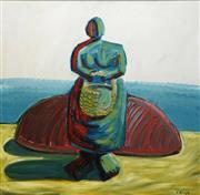 Sale 8692 - Lot 606 - Paul Ryan (1964 - ) - Untitled (Woman with Basket) 77 x 83cm