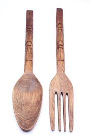 Sale 8701 - Lot 28 - Wall Hanging Wooden Fork And Spoon (L:49cm)