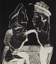 Sale 9084A - Lot 5115 - Andrew Sibley (1933 - 2015) - In Love with a Cat Lady, 1997 70.5 x 59 cm (frame: 76 x 82 x 4 cm)