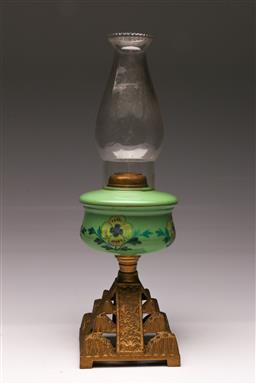 Sale 9107 - Lot 4 - Glass Kerosene Lamp together with an Persian Plaque