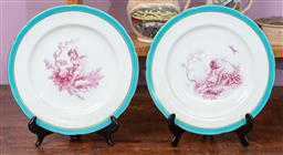 Sale 9120H - Lot 127 - A pair of Minton cherub themed plates with light blue and mint border, Diameter 23.5cm