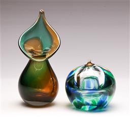 Sale 9131 - Lot 93 - Art glass candle holder (Dia:8.5cm) - signed - together with an art glass vase (H:16.5cm) - signed