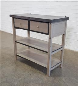 Sale 9151 - Lot 1167 - Painted timber kitchen island (h:90 x w:95 x d:45cm)