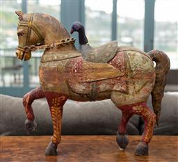 Sale 9191H - Lot 21 - An Indian hand-painted timber horse, H 57 x L 64 cm