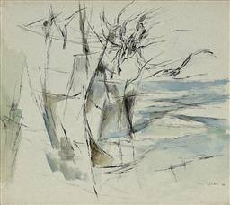 Sale 9244 - Lot 600 - JEAN APPLETON (1911 - 2003) Abstract Landscape, 1960 ink and watercolour 43 x 48.5 cm (frame: 52 x 57 x 3 cm) signed and dated lower...