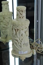Sale 8100 - Lot 5 - Ivory Carved & Pierced Lamp