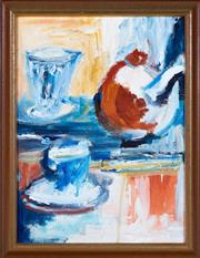 Sale 8800 - Lot 240 - Kate Carson - Still Life with a Cup of Tea 39 x 29cm