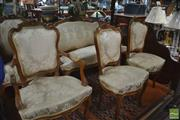Sale 8428 - Lot 1031 - Louis XV Style Carved Walnut Parlour or Salon Suite, comprising settee, pair of armchairs & pair of side chairs, with carved crests...