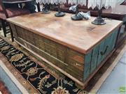 Sale 8593 - Lot 1057 - Large Indian Painted & Metal Mounted Chest (47 x 138 x 74cm)