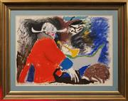 Sale 8678 - Lot 2005 - Artist Unknown - Highwayman and Dogs, mixed media on paper, 55.5 x 76.5cm, signed lower right