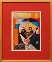 Sale 8833 - Lot 2020A - Anthony Chiappin - Cubist Head oil on board, 41 x 30cm signed lower right -