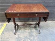 Sale 9014 - Lot 1076 - Regency Style Sofa Table, with drop-leaves, two frieze drawers, turned double end supports, with stretcher & outswept feet (h:74 x w...
