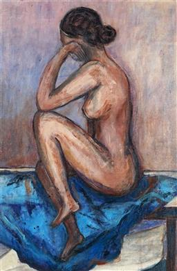 Sale 9096A - Lot 5091 - Stanley Perl (1942 - ) - Thinking Nude 59 x 39 cm (frame: 69 x 59 x 2 cm)