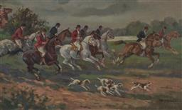 Sale 9180A - Lot 5069 - ENGLISH SCHOOL (M. WATSON) Fox Hunting Party, 1922 oil on canvas on board 45.5 x 77 cm (frame: 59 x 91 x 4 cm) signed and dated lowe...