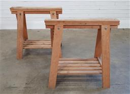 Sale 9174 - Lot 1384 - Pair of timber trestle bases (h:71 x w:70cm)