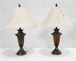 Sale 9183 - Lot 1068 - A pair of urn form table lamps with amber glass mid-sections (H:81cm)