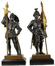Sale 8040 - Lot 24 - Bronze Early 20th Century Pair of Armoured Figures