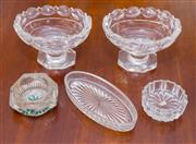 Sale 8346A - Lot 76 - A pair of Georgian style cut glass trencher salts with guilloche border, together with three others