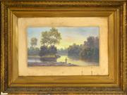 Sale 8394 - Lot 589 - Valentine (Val) Delawarr (active c1880s - 1900) - Fishing by the Quiet River 20 x 37.5cm