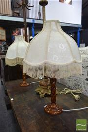 Sale 8507 - Lot 1055 - Pair of Timber Base Table Lamps