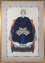 Sale 8517A - Lot 9 - Artist Unknown - Ancestor Portrait, Grandmother with Headdress in Royal Blue Tunic total size including gilt frame 166 x 120cm