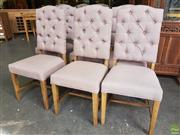 Sale 8611 - Lot 1046 - Set of Six Latte Fabric Upholstered Button Back Dining Chairs