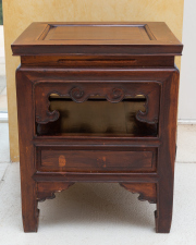 Sale 8677B - Lot 605 - A set of four matching Chinese side tables with carved aprons and one drawer, each H x 47cm, W x 38cm